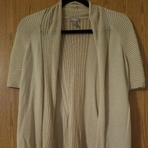 Chicos Tan Size 0 Small Open Front Knit Sweater